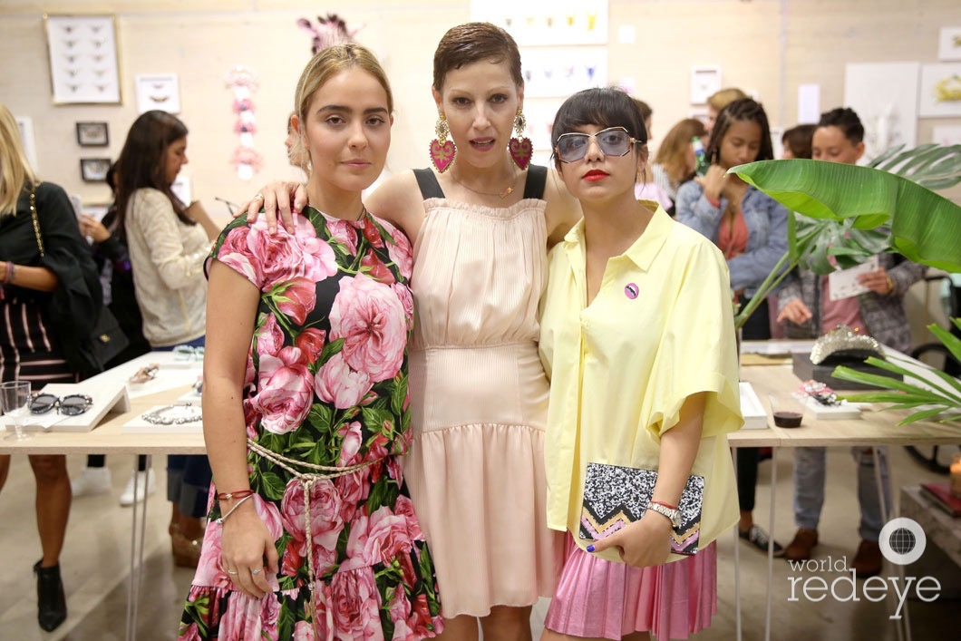 Angeles Almuna, Elisa Sain and Andrea Cora at the opening of Maryjane Claverol Store