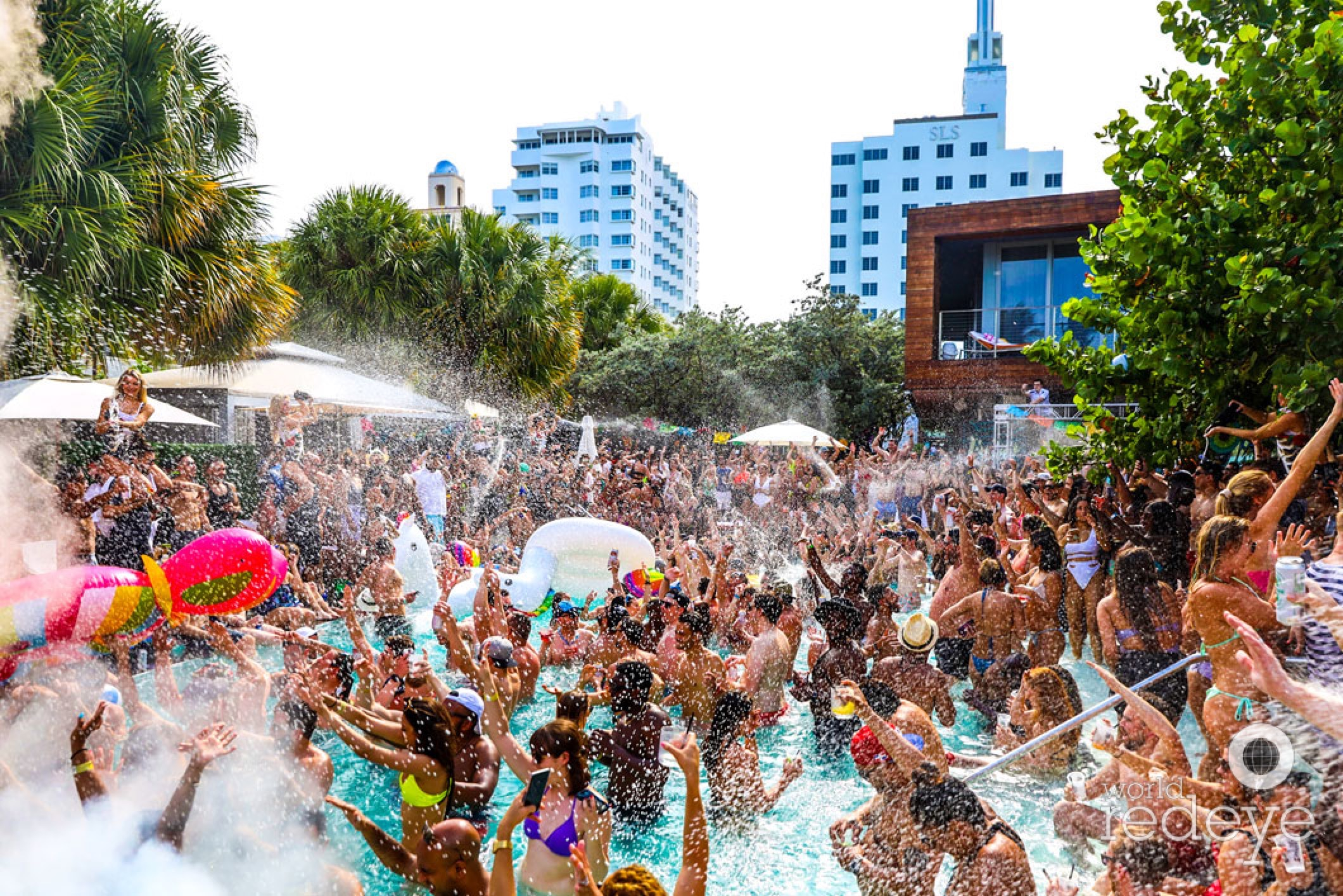 Big crowd and pool party at Hyde Beach Miami